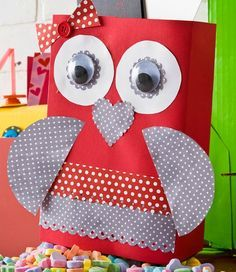 Red owl cereal box card box holder - The cutest Kids DIY Valentine's Day Card Box and treat holder Ideas for boys and girls! #plaidcrafts