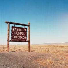 Colorado Welcome Signs - Welcome to Colorful Colorado - Road Trip - Retro - America Photo - Square P