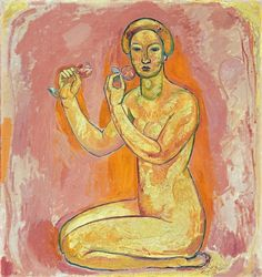 Female Nude with Flowers (The Truth), 1913 Cuno Amiet - by style - Fauvism - WikiArt.org