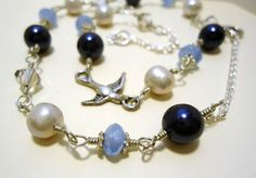 Bird and Pearl Necklace Hand Linked Blue and by LizabethDezigns, $27.00
