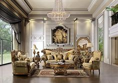 Cairo Gold Upholstered Classic Sofa Set (Sofa & Loveseat & Chair) Focus…