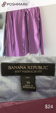 Banana Republic Purple Men's Button-up Shirt Purple button-up shirt from Banana Republic. Men's tall Medium! Pre-loved but no holes, tears, etc... 100% cotton. Slim fit soft wash is what the label says (see photo) Banana Republic Shirts