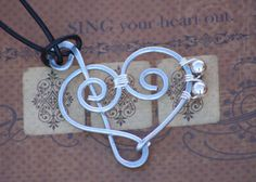 Steel Wire Treble Clef and Bass Clef HEART Pendant by wirewrap, $26.00