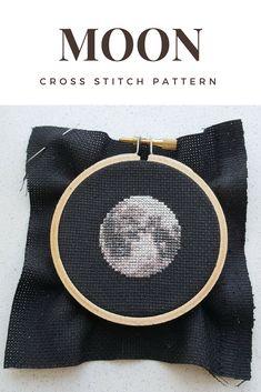 Moon cross stitch pattern