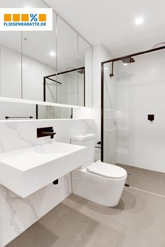 Modern often come from a In this case it was a stoneware tile with a # marble look! Concrete Bathroom, Bathroom Faucets, Bathroom Marble, All White Bathroom, Modern Bathroom, Bad Inspiration, Bathroom Inspiration, Marble Look Tile, Paint Your House
