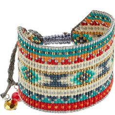 Mishky Embellished Bracelet ($95) ❤ liked on Polyvore featuring jewelry, bracelets, multicolor, rainbow jewelry, hand crafted jewelry, boho jewelry, colorful jewelry and bohemian jewelry
