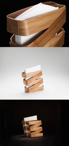 Called the Bamboo Binder, this magazine storage solution is a stylish and sustainable alternative to drab, industrial holders. Its unique woven wood look is achieved by Magazine Holders, Magazine Stand, Sustainable Building Materials, Magazine Storage, Bamboo Crafts, Bamboo Design, Yanko Design, Gadgets And Gizmos, Design Projects