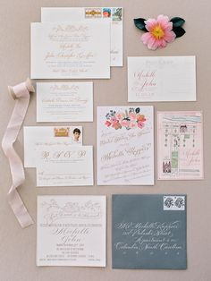 Blush and gray wedding stationary: Photography: Amy Arrington Photography - www.amyarrington.com   Read More on SMP: http://www.stylemepretty.com/2017/04/14/the-olde-pink-house-wedding/