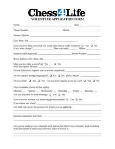 Volunteer Application Form  Youth Ministry Leadership Ideas