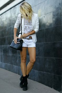 Not so winter but very white! love the combat boots for city chic girls