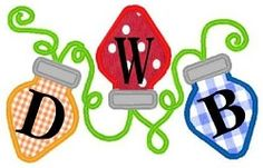 Christmas Lights Monogram - 3 Sizes!   Alphabets   Machine Embroidery Designs   SWAKembroidery.com Band to Bow