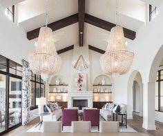 Vaulted ceiling living room with dark stained wood beams feature arched niches with shelves showcasing decorative pieces. Living Room Interior, Living Room Decor, Dining Room, Spanish Colonial Homes, Open Concept Home, Boho Home, Tuscan House, Transitional Living Rooms, Tuscan Decorating