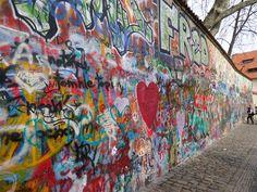Lennon Wall in Prague -read about it here http://en.wikipedia.org/wiki/Lennon_Wall