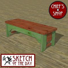 Sketch of the Day: Country Kitchen Bench