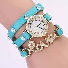 New Arrivals women vintage leather strap watches,set auger LOVE rivet bracelet women dress watches,women wristwatches