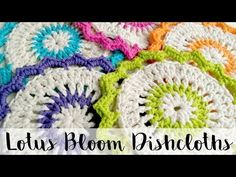 They make unique ad beautiful decorative trivets and really lovely gifts. This really easy video tutorial, courtesy of Fiber Flux will teach you how to crochet the Lotus Bloom Dishcloths. These crochet dishcloths are so Crochet Home, Love Crochet, Learn To Crochet, Crochet Crafts, Crochet Projects, Knit Crochet, Crochet Stitches, Easy Crochet, Crochet Baby