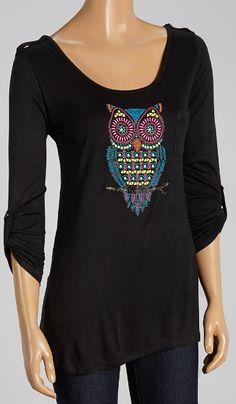 Black Owl Roll-Tab Sleeve Scoop Neck Tee