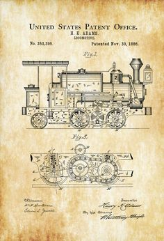 Vintage patent drawing aerial vessel flying machine patent drawing 1886 locomotive patent vintage locomotive locomotive blueprint locomotive art railroad decor locomotive poster railroads malvernweather