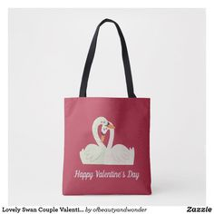 Lovely Swan Couple Valentine   Tote Bag Edge Design, Personalized Products, Happy Valentines Day, Swan, Reusable Tote Bags, Elegant, Stylish, Couples, Simple
