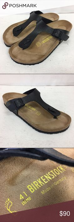 NEW NWOT Birkenstock Gizeh Black Sandals 41 10 8 Beautiful new, never worn Birkenstock sandals in the Gizeh style.  These are a shiny black (but not patent) with texture.  Size is EU 41, womens 10, mens 8.  The modern thong sandal from Birkenstock. The Gizeh is an addictive classic with signature support and a refined, minimalist style. * Made in Germany * Birko-Flor – durable, synthetic upper material with leather-like finish and soft backing * Contoured cork footbed conforms to the shape…