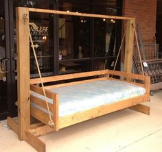 diy swing set plans for kids and baby Porch Swing Frame, Porch Swing With Stand, Pallet Swing Beds, Diy Swing, Porch Swings, Outdoor Bed Swings, Outdoor Camping, Porch Bed, Diy Porch