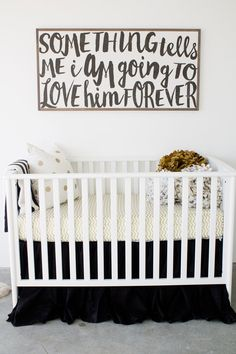 "A Complete Life Baby boy nursery decor, wall hanging. ""Something tells me I am going to love him forever. Baby Boy Rooms, Baby Boy Nurseries, Baby Boys, Baby Kind, Our Baby, Bebe Love, Ideas Habitaciones, Nursery Inspiration, Nursery Ideas"