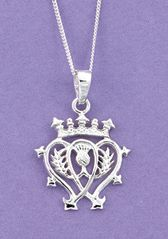 Luckenbooth Pendant For the lass who has captured your fancy - tell her how you feel with a Luckenbooth, a traditional Scottish love token. Two hearts entwine, crowned in a sign of loyalty and devotion. $68