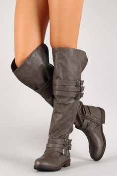 e58869721b61 Six Buckled Strap Round Toe Thigh High Boot  40 Thigh High Boots