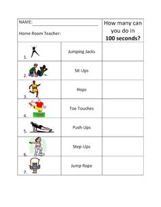 This site includes great activities for physical education including this 100 second challenge.
