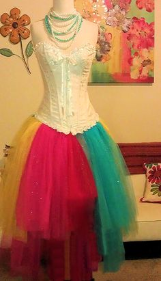 Rainbow wedding gown dress: kinda like this, but with white over the tulle