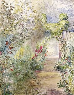 Beatrix Potter watercolor she did Fawe Park Garden, 1903, Private Collection