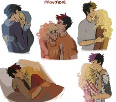 Percabeth Art by Miavmore. The drawing in the middle which likely takes place in Tartarus kills me every time.
