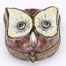 Owl Trinket Box French hand painted and hand made in Limoges, France