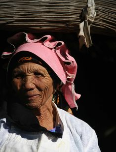 "Namaqualand woman still wearing the traditional ""kappie"" (hat)   (South Africa)"
