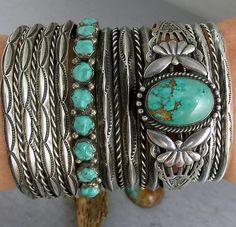Fred Harvey Navajo Gorgeous Green Royston Turquoise Cuff Bracelet