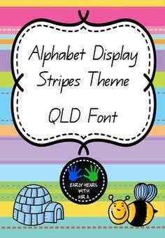 Alphabet Posters: Backgrounds: https://www.teacherspayteachers.com/Store/Lovin-Lit Letter Clip Art: http://www.teacherspayteachers.com/Store/Lindy-Du-Plessis Font: Queensland Beginners (Australia) Other products in this theme: https://www.teacherspayteachers.com/Product/Days-of-the-Week-Stripes-Theme-3556793