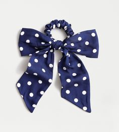 Navy Polka Dot Bow Scrunchie