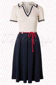 Bettie Page Clothing - On the Yacht Sailor Dress in Navy and Cream Nautical Dress, Nautical Fashion, Nautical Style, Clothes Refashion, Refashioned Clothes, Vintage Outfits, Vintage Fashion, Vintage Style, Bettie Page Clothing