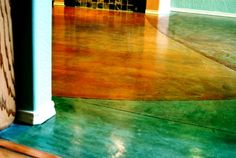 Colored concrete floor for downstairs. Cuts cost by using the concrete foundation we will pour.