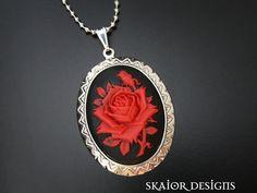 Blood Rose Red Cameo Victorian Gothic Necklace, Dark Jewellery for Goth, Gothique, Gotisch, Macabre, Masquerade, Halloween, Vampire, Offbeat Wedding, Bridal, Emo, Lolita $25