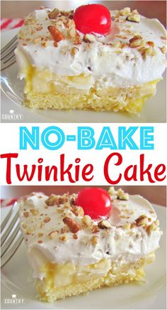 No-Bake Twinkie Cake recipe from The Country Cook Weight Watcher Desserts, Easy Desserts, Baking Desserts, Mini Desserts, No Bake Desserts, Dessert Recipes, Layered Desserts, Dessert Dishes, Baking Cakes