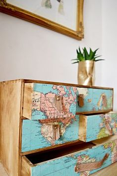 Ikea Moppe hack with maps and leather drawer pulls. Ikea Moppe hack with maps and leather drawer pulls. Great look for those with w… Ikea Moppe hack with maps and leather drawer pulls. Great look for those with wanderlust. Repurposed Furniture, Painted Furniture, Refurbished Furniture, Diy Furniture Upcycle, Vintage Furniture, Vintage Chairs, Furniture Makeover, Home Furniture, Furniture Stores