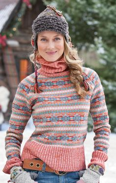 Lovely soft colour combination | 40's fair isle pink turtleneck More