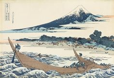 "Japanese Ukiyo-e Woodblock print, Hokusai, ""Shore of Tago Bay, Ejiri at Tōkaidō"" Freer Gallery, Mont Fuji, Number Art, Katsushika Hokusai, Ohara Koson, Great Paintings, Japanese Painting, Japanese Artwork, Korean Art"