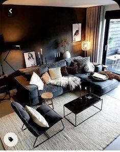 Dark Living Rooms, Living Room Decor Cozy, Boho Living Room, Home And Living, Bedroom Decor, Black Living Room Furniture, Manly Living Room, Masculine Living Rooms, Living Room Modern