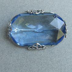 1920's Art Deco Vintage Fancy Rhodium & BIG Blue Glass Stone Pin Brooch