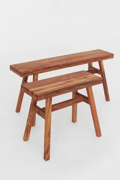 Wooden bench - Brown - Home All | H&M GB 2 Plate, H & M Home, Wooden Stools, Acacia Wood, Dining Bench, Furniture, Home Decor, Interiors, Dishes