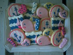 nautical girl whale first birthday anchor pink navy blue cookies - www.facebook.com/blovestobake