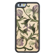 Wood In-Lay Flower Design4-Carved Wood iPhone Case