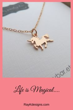 Rose gold plated over 925 sterling silver unicorn pendant necklace925 sterling silver fine cable chain-16-18''pendant size 15.5x12.5mm